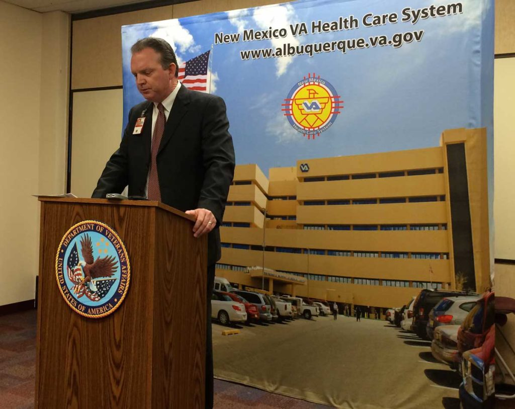 Andrew Welch at an April press conference, discussing the news that clinics in Farmington, Rio Rancho and Santa Fe—and the VA hospital in Albuquerque—had some of the longest wait times in the country.