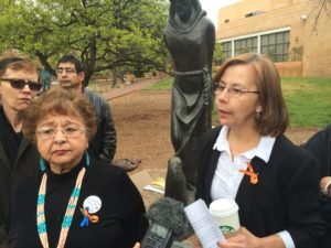 Delma Delora (left) at the news conference on Friday, April 24, 2015 —Credit: Marisa Demarco / KUNM