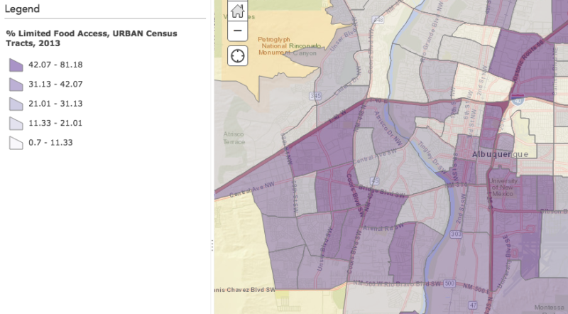Map of Limited Food Access in Albuquerque