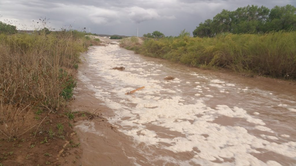 Stormwater flowing from the Tijeras Arroyo into the Rio Grande in early May —Ed Williams / KUNM