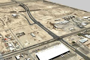 Artist's rendering of the Sunport Blvd extension, seen from above. I-25 is on the upper left side of the image. CREDIT BERNALILLO COUNTY