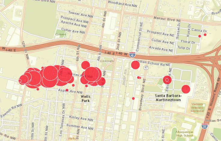 Map Of Toxic Plume Near Downtown Albuquerque