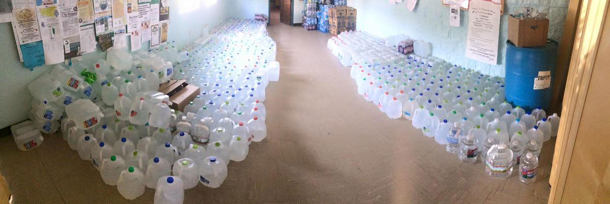 Donated water in the Shiprock Chapter House CREDIT ELIZABETH MCKENZIE