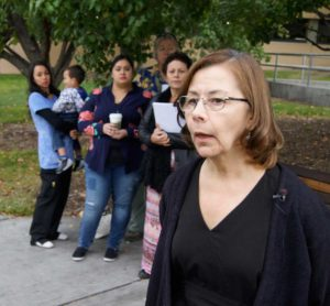 Lorie MacIver and a group of nurses outside of UNM Hospital CREDIT ED WILLIAMS