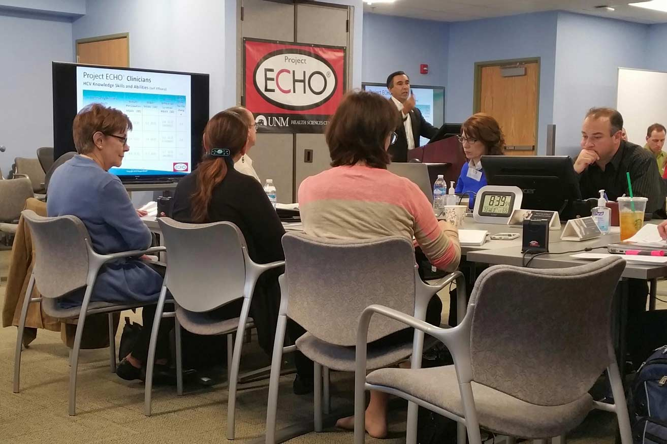 Dr. Sanjeev Arora speaking to an international audience of doctors at an ECHO training at UNM ED WILLIAMS