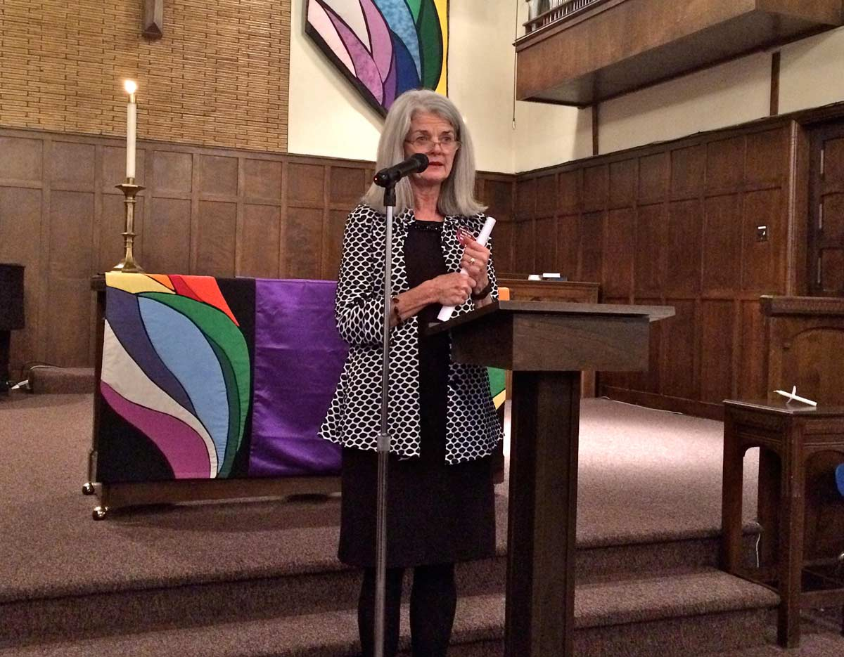Vicki Cowart, president and CEO of Planned Parenthood of the Rocky Mountains, speaks at First Congregational Church. MARISA DEMARCO / KUNM