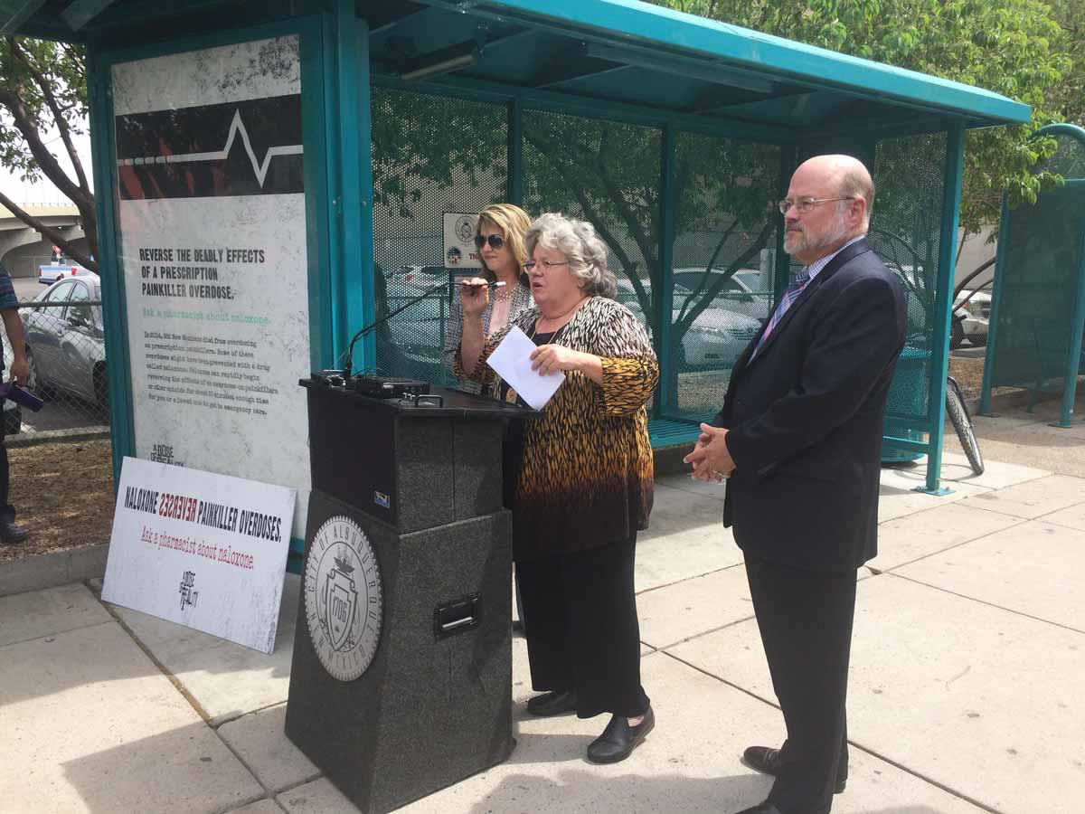 "Wayne Lindstrom, right, with Councilor Diane Gibson and Jennifer Weiss, left, announce the ""Dose of Reality"" campaign in Downtown Albuquerque MARISA DEMARCO / KUNM"
