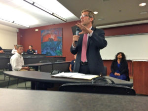 State Auditor Tim Keller addresses stakeholders at the UNM School of Law. Credit KUNM / Marisa Demarco