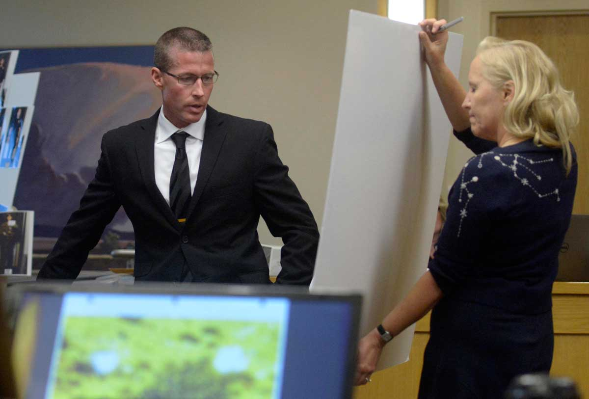Sgt. James Fox points out officers on a map of the scene that prosecutor Randi McGinn holds up. GREG SORBER / ALBUQUERQUE JOURNAL