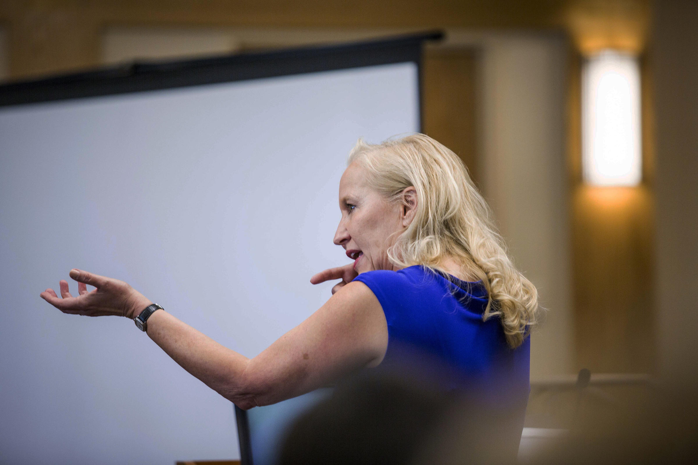 Special prosecutor Randi McGinn delivers opening statements in the trial of former police officers Dominique Perez and Keith Sandy, who are charged with the 2014 murder of James Boyd, in Bernalillo County Court court Monday, Sept. 19, 2016 in Albuquerque, NM. (AP Photo/Juan Labreche, Pool)
