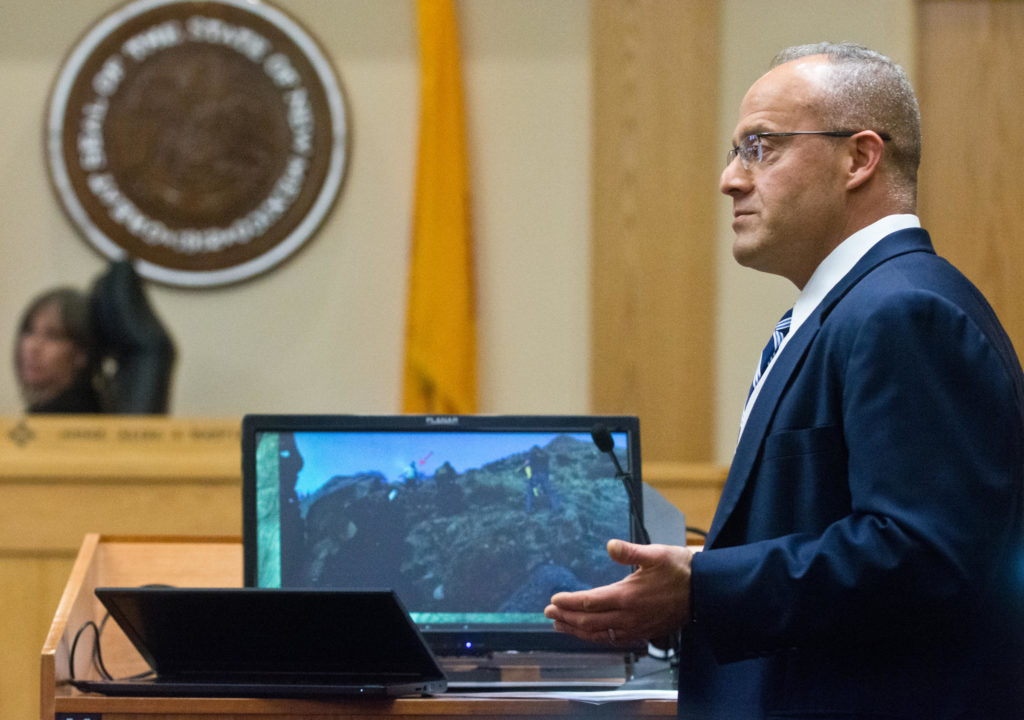 Luis Robles delivers his closing argument in defense of former officer Dominique Perez. Credit Marla Brose / Albuquerque Journal